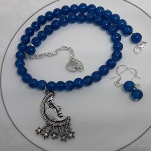 Rhinestone Moon & Cerulean Cracked Glass Necklace